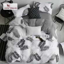Slowdream 北欧スタイル寝具セット葉パターン布団カバーセットフラットシート枕寝具ベッドリネンセットユーロ大人