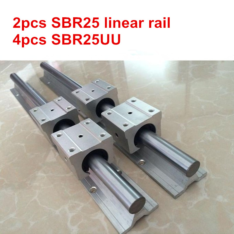 2pcs SBR25 - 1200mm 1500mm linear rail guide + 4pcs SBR25UU block2pcs SBR25 - 1200mm 1500mm linear rail guide + 4pcs SBR25UU block