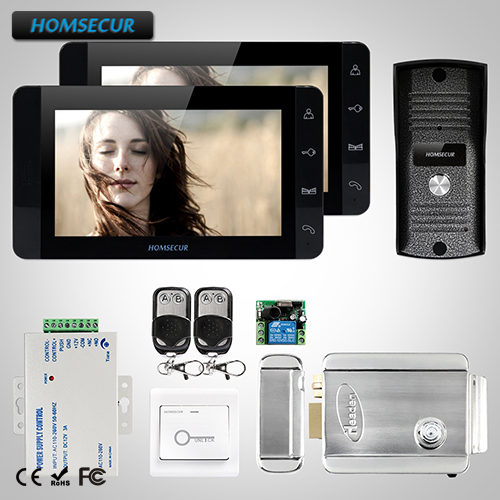 HOMSECUR 7 Wired Hands-free Video&Audio Home Intercom+Dual-way Intercom Electric Lock(TC ...