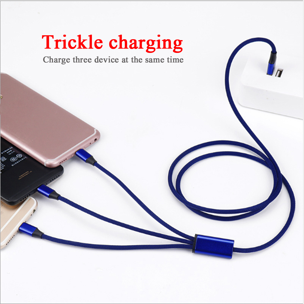10pcs 3 in 1 Cable Micro USB Type C 8 pin Charger Cable for iPh Cord Fast Charging Cables for Xiaomi Huawei Android 1 2M in Mobile Phone Cables from Cellphones Telecommunications