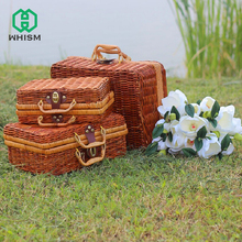 WHISM Bamboo Picnic Box Mini Travel Suitcase Rattan Storage Box Fruit Food Container Lunch Case for Outdoor Storage Organizer