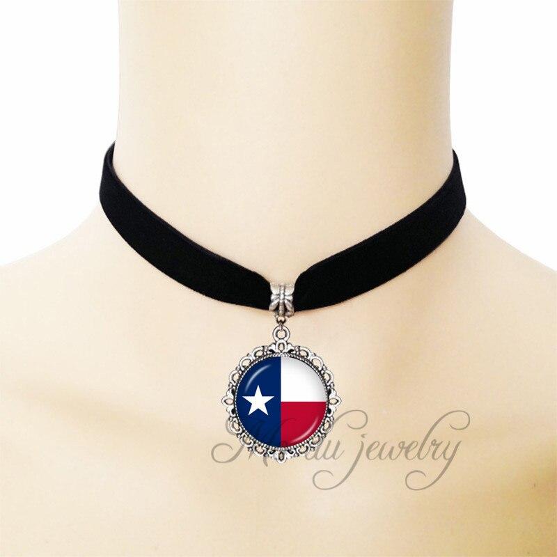 Очаровательный Винтаж флаг TX США смолы Стекло кабошон купол кулон штата Техас флаг черной лентой Цепочки и ожерелья ювелирные изделия спец... ...