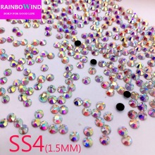 SS4 Crystal ab Nail Rhinestones,1440pcs/lot Flat Back DMC Hotfix Glitter Nail Stones,DIY 3d Nail Phones Decorations Supplies