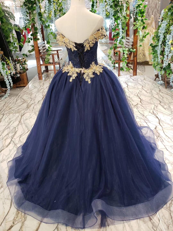 2019 longueur de plancher hors de l'épaule or perlé broderie corsage scintillant bleu marine jupe longues robes de bal - 2