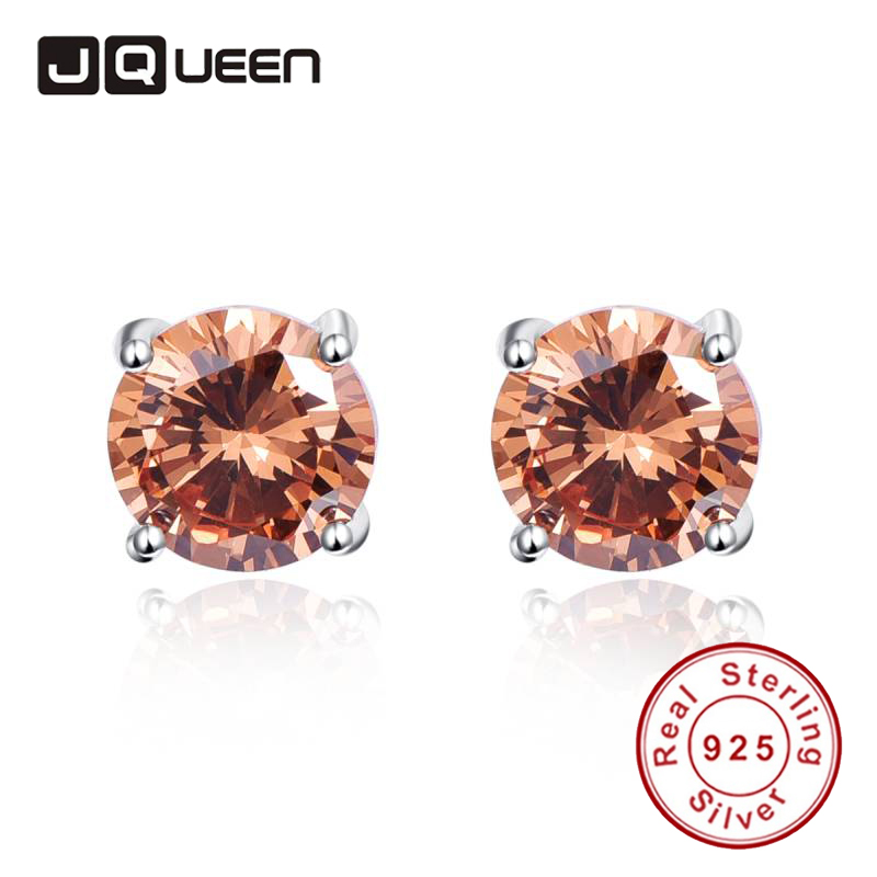Ladies Fashion Accessories Ear Piercing 925 Sterling Silver Earrings Stud Round Small 10x10mm Set for Women with Morganite Stone