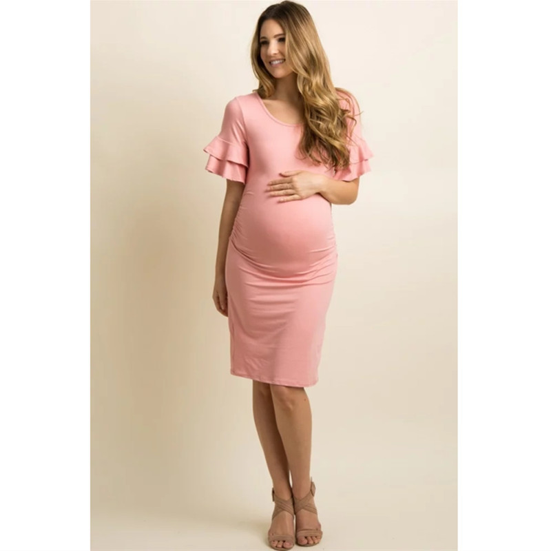 Pagoda Sleeve Pregnancy Dress Gravidas Vestidos Maternity Dresses For Pregnant Women Clothes Skinny Slim Lady Maternity Summer