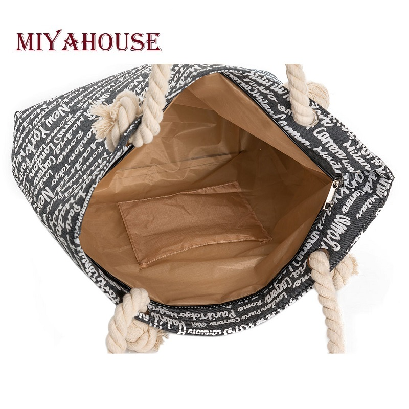 Miyahouse Casual Letters Printed Beach Bag Women Jean Denim Design Summer  Handbag Lady High Quality Tote Bags Women Shopping Bag-in Top-Handle Bags  from ... 6914071ed347