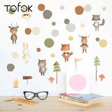 Tofok Cartoon Animal Fox Bear Trees Wall Sticker Nordic Style Kids Room Bedroom Decals Eco-friendly Fridge Cabinet Decor Supply