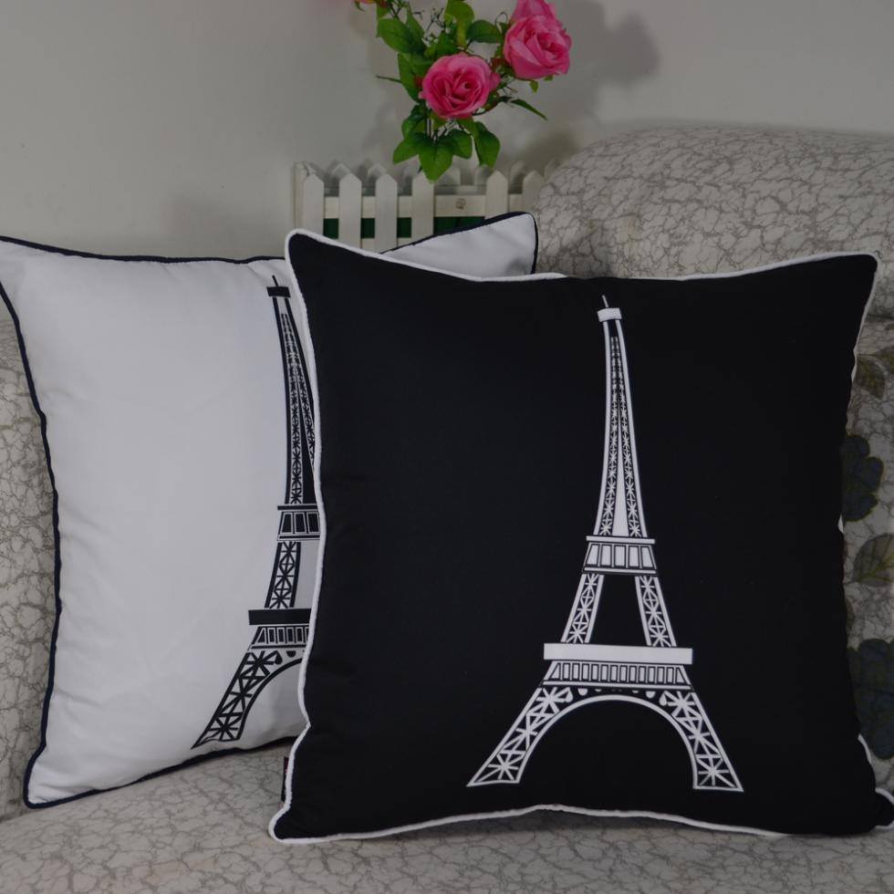 45*45 cm Decorative Vintage Paris Eiffel Tower Printed High Quality Throw Cushion Cover Pillow Case for Home Decor Sofa