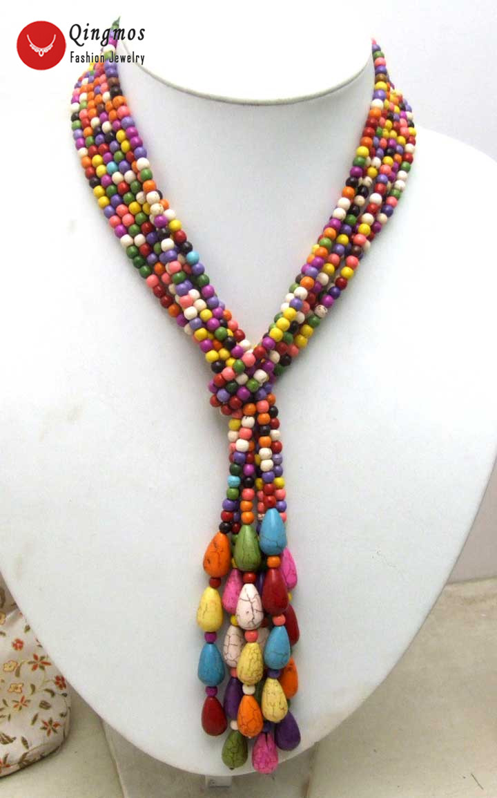 Qingmos LONG 45 Multicolor Sweater Necklace for Women with Natural 4mm Round Turquoises Stone Beads NECKLACE-nec5668Qingmos LONG 45 Multicolor Sweater Necklace for Women with Natural 4mm Round Turquoises Stone Beads NECKLACE-nec5668
