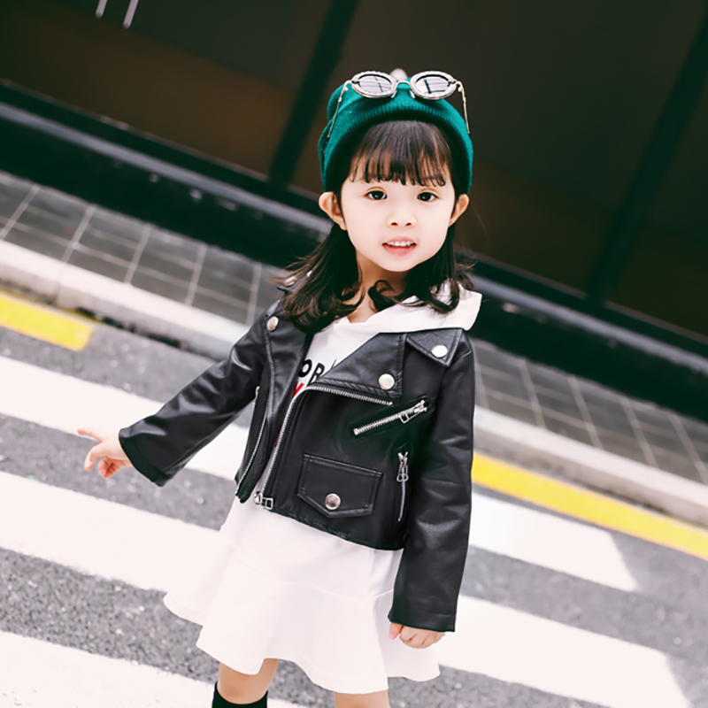 Spring Autumn Kids PU Leather Jackets For Girls Leather Zipper Jacket Children Outerwear Baby Boys Leather Coat Girls Clothing spring and autumn kids clothes pu leather girls jackets children outwear for baby girls boys zipper clothing coats costume 4 13y