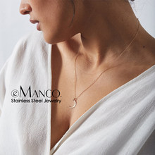 e-Manco Statement Stainless Steel Necklace Women Moon Pendant Necklace dainty Chokers Necklaces for women Graduation Gift(China)