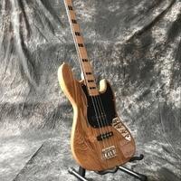 high quality 4 Strings Handmade jazz Electric Bass Guitar, custom bass gitaar,Natural wood color guitarra