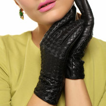 2019 NEW Womens Genuine Leather Gloves Female Handmade Woven Elegant Sheepskin Fashion Trend Nylon Lined L118NN-1
