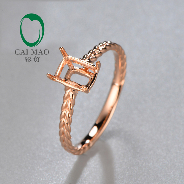 Simple Style 18K Rose Gold Setting Semi mount Engagement Ring