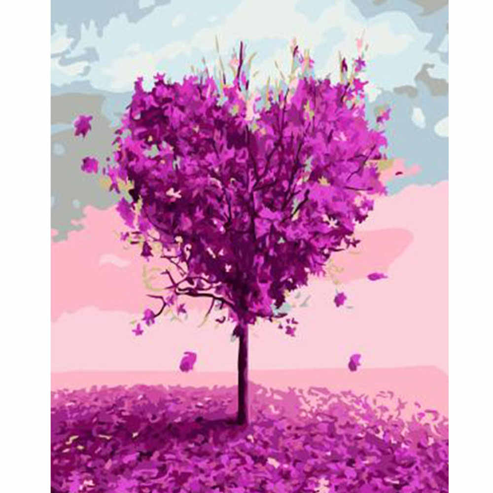 Digital Diy Minyak Lukisan Dengan Angka Bunga Cinta Pohon Dinding Art Gambar Frame Sikat Menggambar Mewarnai Cat Oleh Nomor