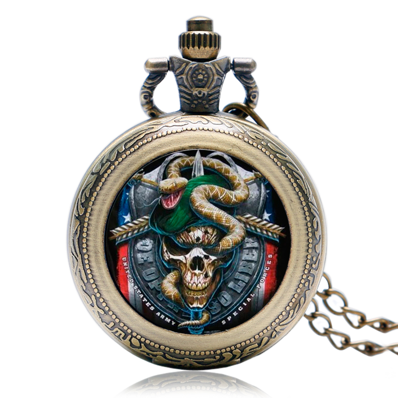 Quartz Pocket Watch 2018 Hot Green Beret United States Skull Fashion Army Special Force Modern Rotatable Case Necklace Men