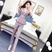 Fashion ladies suit female spring 2019 new suit collar repair jacket + feet pants women's suit wild slim autumn high quality