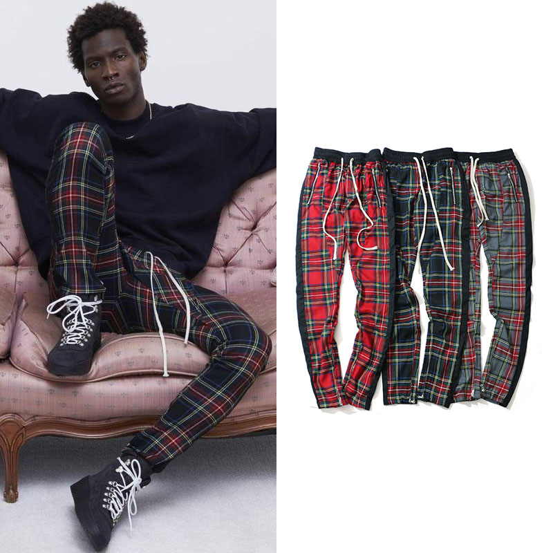 Vintage Scottish Plaid Joggers Pants Mens Tartan Track Pants Justin Bieber Drawstring Ankle Strap Zip Patch Sweatpants Hip-hop(China)