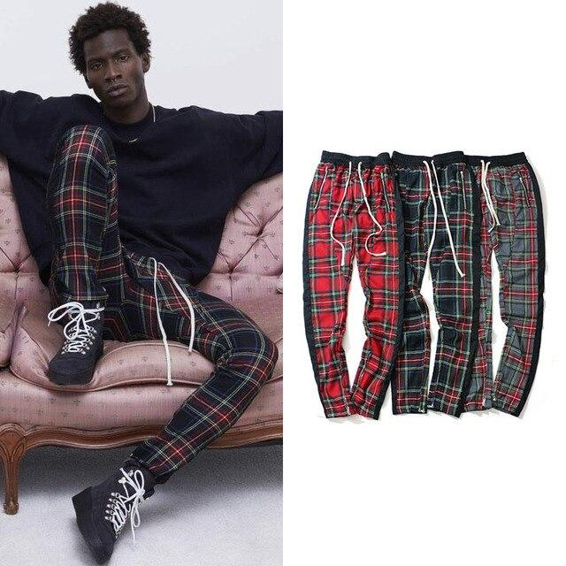 Vintage Scottish Plaid Joggers Pants Mens Tartan Track Pants Drawstring Ankle Strap Zip Patch Sweatpants Hip-hop 1