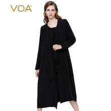 VOA Europe fashion heavy silk trench black long sleeved high-end silk coat female S5003