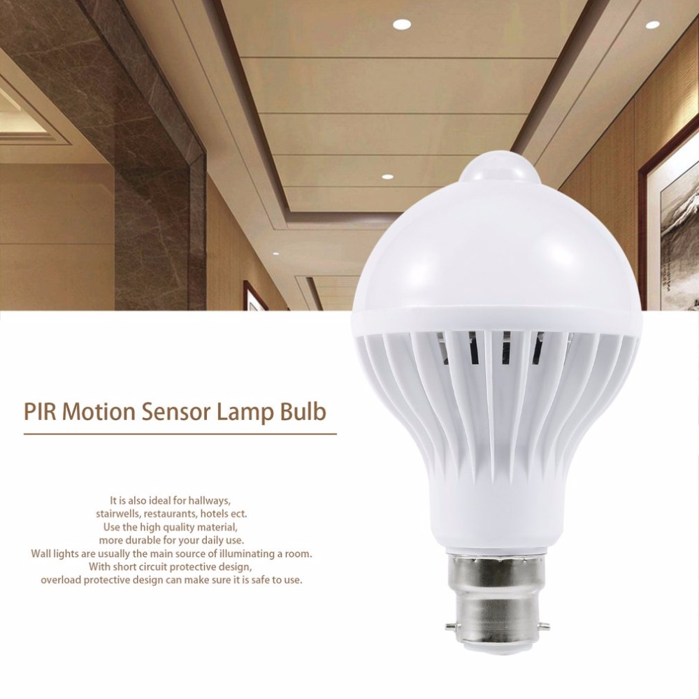 B22 Super Bright PIR Infrared Human Body Induction Lamp Bulb 85-265V LED Lamp Sensor Light Control Light Motion Sensor Auto Lamp icoco 1pcs 6 leds intelligent pir infrared human body induction lamp motion sensor night light for bedroom closet canbinet new