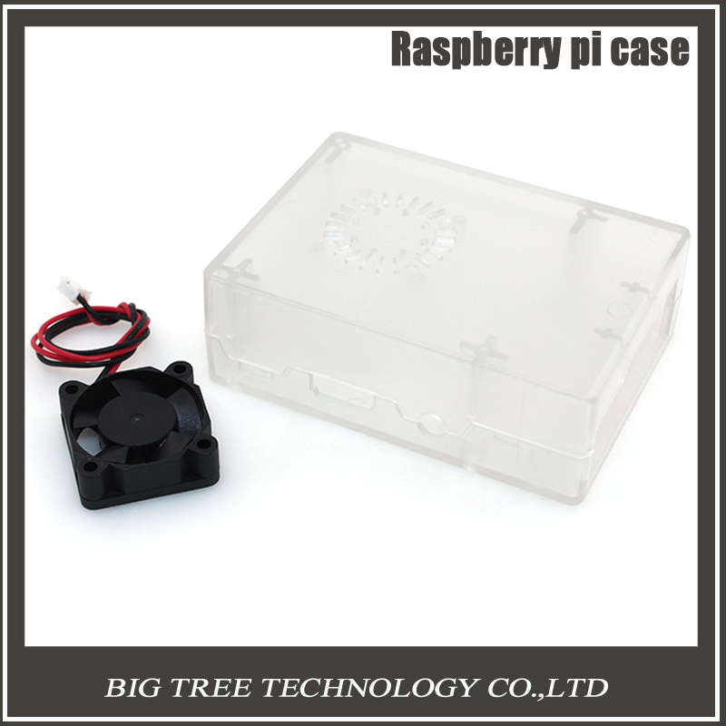5pcs Raspberry Pi ABS Clear color case Plastic Box with Cooling Fan module For Raspberry Pi 2 & Raspberry Pi model b plus &3