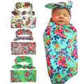 HOT Newborn Headwrap+Swaddle infant Wrap Swaddled Set Flowers Baby Swaddle Set Headband baby Photo Prop Top Buttons