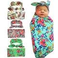 Recién Nacido CALIENTE Headwrap + Conjunto de Flores Envuelto Bebé Swaddle Swaddle Abrigo infantil Set Venda del bebé Apoyo de la Foto Superior Botones