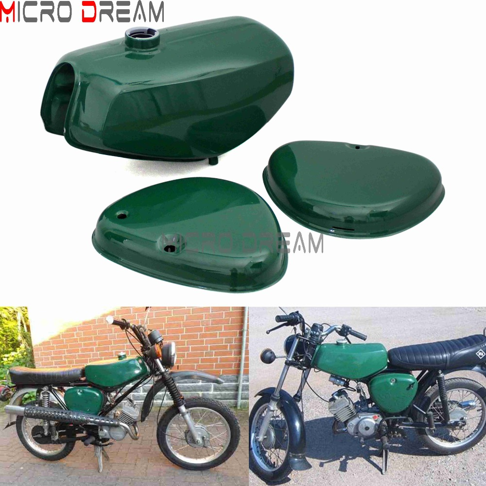 Billiard Green Motorcycle Banana Shape Petrol Gas Fuel Tanks 2pxs Side Covers Steel Oil Tank Kit For Simson  S50 S51 S70