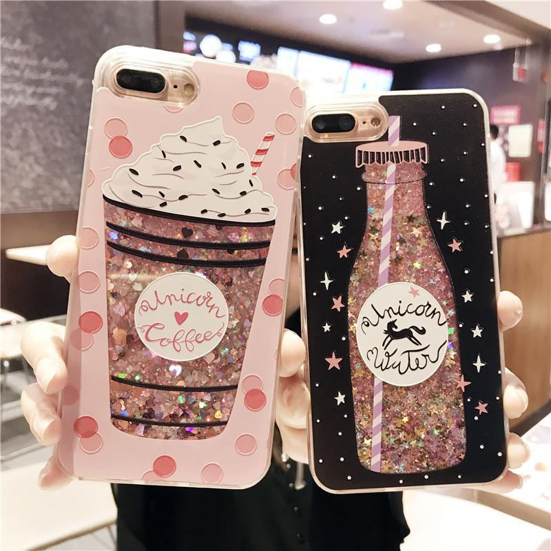 Cartoon Flower Bottle Quicksand Dynamic Cover For iPhone 6 Cases Liquid Glitter Phone Case For Iphone 7 Case 6S 7 8 Plus Coque
