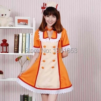 Hatsune Miku OSTER project len kagamine costume COS masque fête femmes robe coplay Orange infirmière uniforme