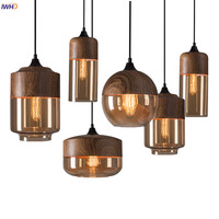 IWHD Glass Nordic Modern Pendant Lamp Dinning Room Bar Cafe Loft Vintage Light Hanging Lights Industrial Lighting Fixtures LED
