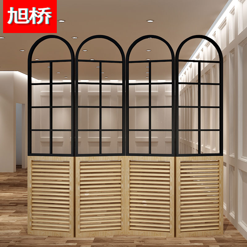 xu Bridge Clothing store display rack, iron art wooden folding partition partition rack, landing office, creative screen