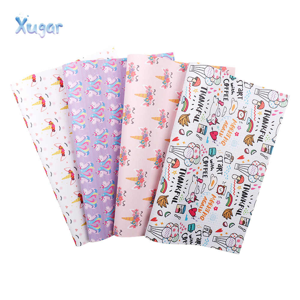 Xugar 22*30cm Unicorn Printed Faux Synthetic Leather Fabric Sheet, DIY Hair Bows Craft Handmade Sewing Materials For Home Decor