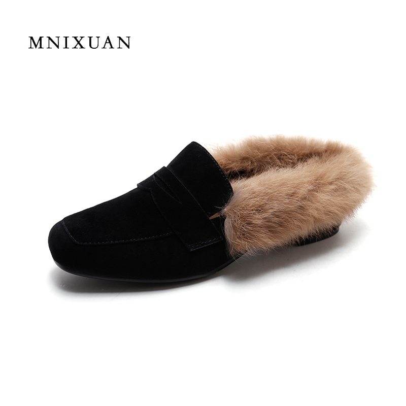 Pumps women shoes 2017 winter new fashion genuine leather square toe medium heels sexy ladies casual warm with fur black size4