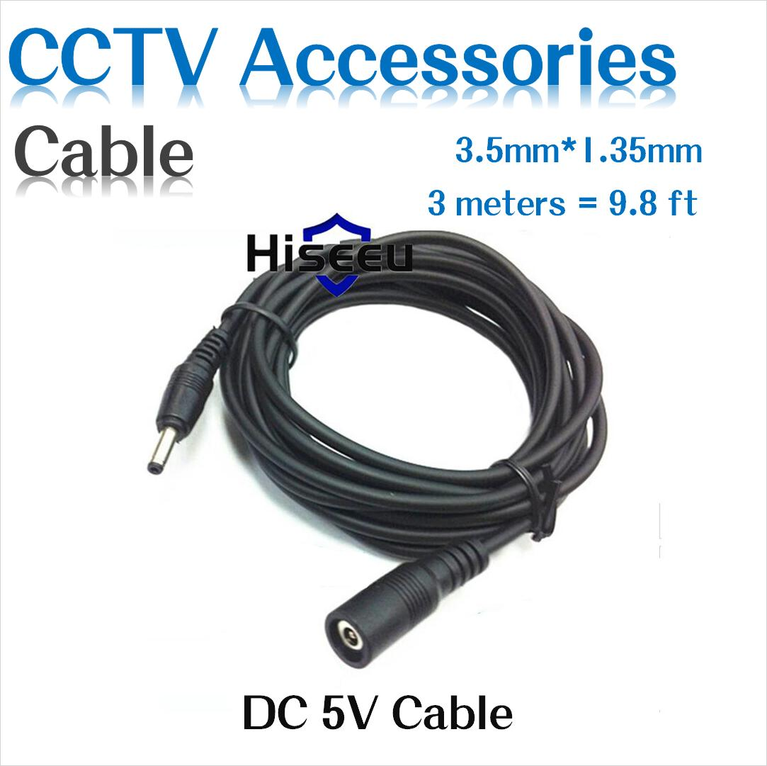 10ft 3meters DC 5V Extension Power Cable 3.5*1.35 For Smart Camera FH1