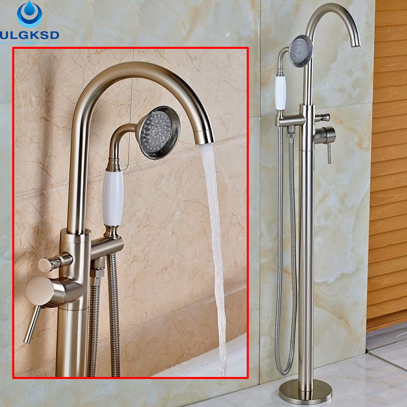 Ulgksd Wholesale and Retail Bathtub Tub Faucet Brushed Nickle Tub Filler Bathroom Faucet W/Hand Shower Mixer Tap Floor Mount