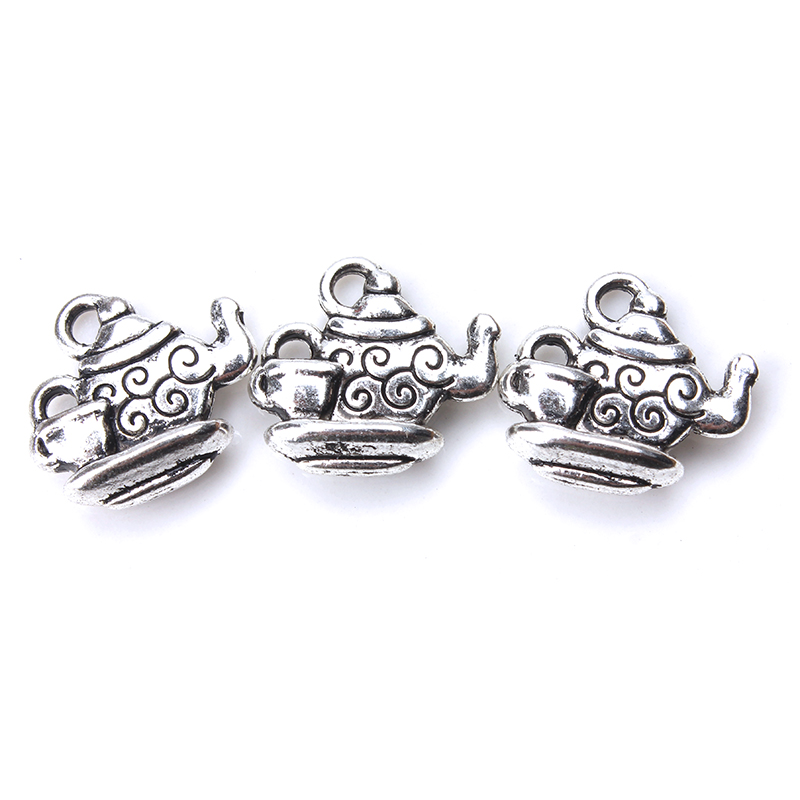 10pcs/lot  14mm x 16mm Tea Pot Charms Antique Silver Tone 2 Sided with Little Tea Cup for diy charms pendant necklace jewelry