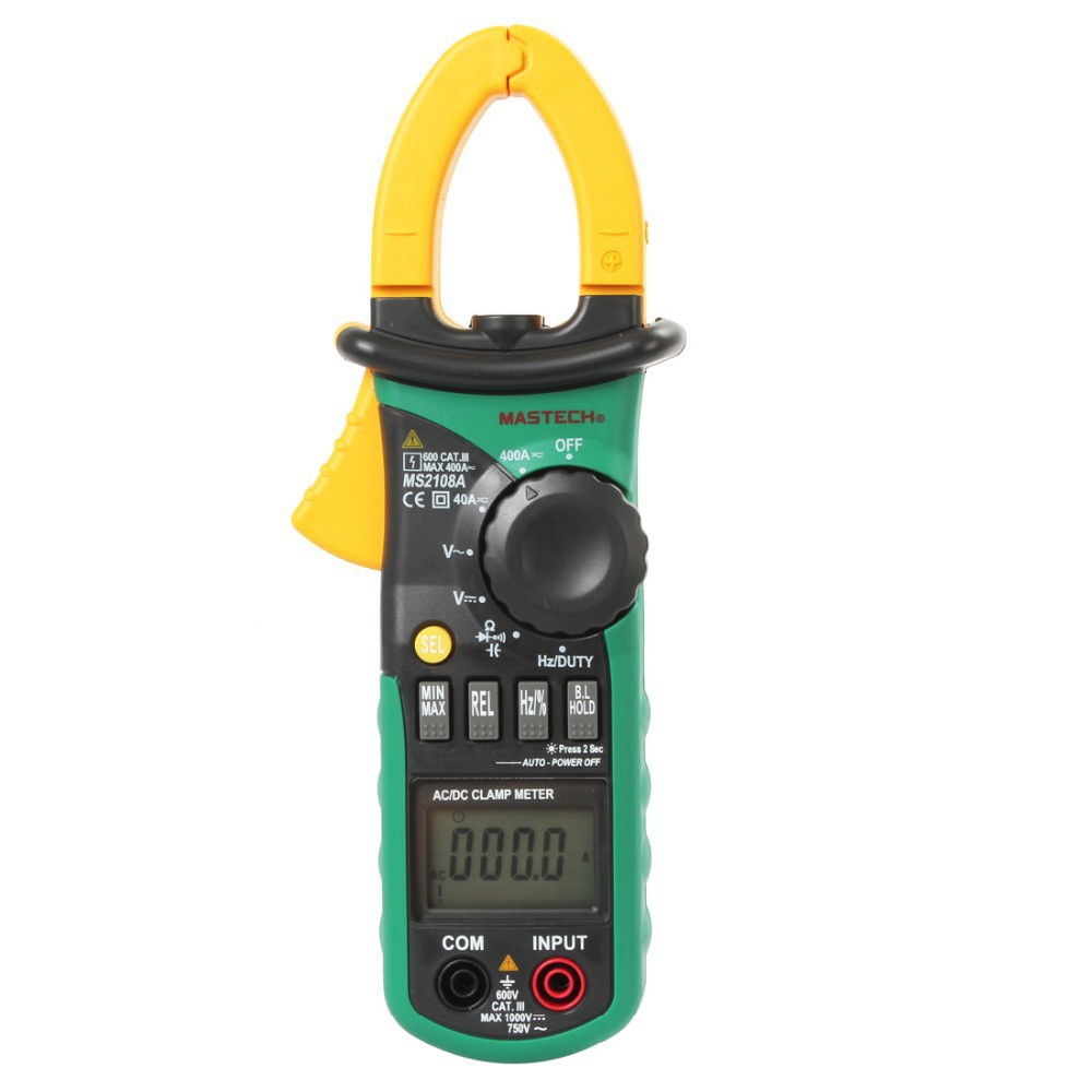 MASTECH MS2108A Auto Range Digital Clamp Multimeter 4000 Counts DC/AC Voltmeter Ammeter Current Resistance Tester multimetro bside acm01 counts auto range 600a digital electrician clamp meter multimeter ac dc voltmeter ammeter resistance meter tester