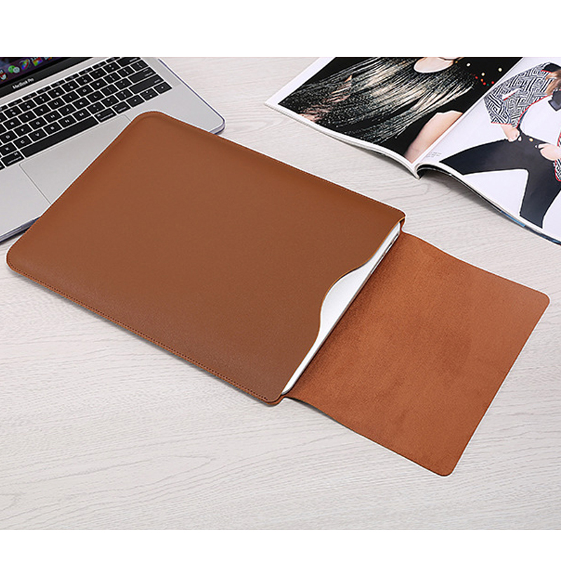 Image 3 - Hot PU Leather Laptop Sleeve Bag For Macbook Air 13 Retina 11 12 15 Notebook Case For Xiaomi Pro 15.6 Women Men Waterproof Cover-in Laptop Bags & Cases from Computer & Office