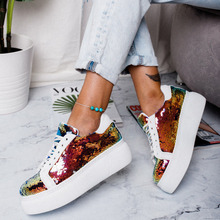 MoneRffi Women Sneakers Plateform Glitter Shinny Bling Shoes Fashion Casual Woman Lady Ballet Flats Espadrilles