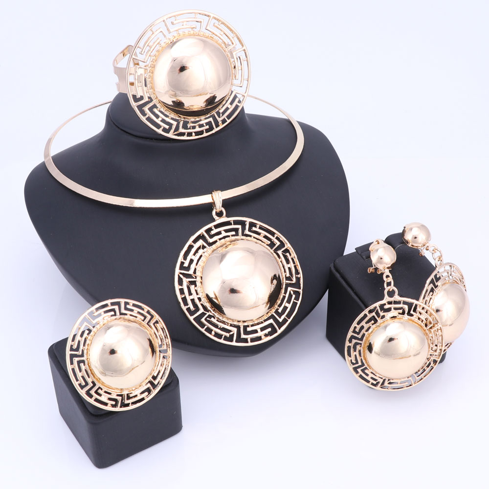Wedding Bridal Jewelry Sets For Women Necklace Bracelet Earrings Rings Gold Color Dubai African Beads Statement Accessories 2