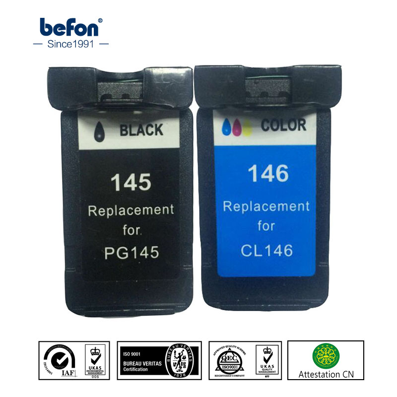 Befon Compatibile 145 146 Cartuccia di Ricambio per Canon PG145 CL146 PG 145 CL 146 Cartuccia di Inchiostro per MG2410 2510 IP2900 2900