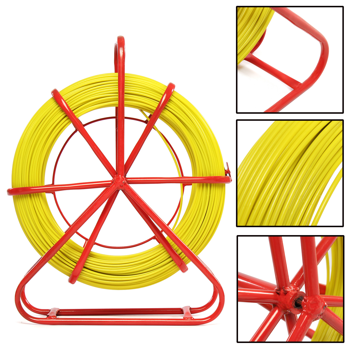 9mm Non-conductive Fish Tape Fiberglass Wire Cable Running Tube Running Rod Puller Kit Fish Tape With Superior Pulling Strength