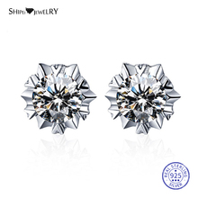 ShiPei 100% 925 Sterling Silver Fine Jewelry Unique White Gold Round Sapphire Stud Earrings for Women Birthday Gift