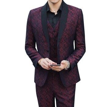 Men's Suit 3 Piece Set ( Suit Jackets + Pants + Vests ) Large Size S-5XL High Quality Dress Men Jacquard Fabric Suit