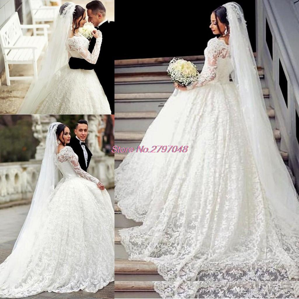 2017 Ball Gown Lace Wedding Dress Arabic Style Appliques Off ...