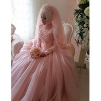 Pink Pearls High Neck Wedding Dresses Arabic 2019 Plus Size Ball Gowns Bridal Custom Made Organza Wedding Gowns For Women Berta