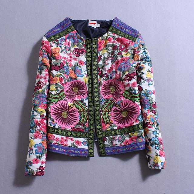 2014 otoño invierno ropa nueva impresión Floral bordado de la flor nacional jacquard tejidas mujeres de la chaqueta de algodón acolchado femenino